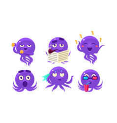 cute purple glossy octopus character set funny vector image