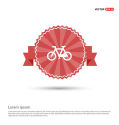 cycle icon - red ribbon banner vector image