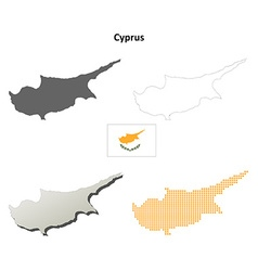 Cyprus outline map set vector image