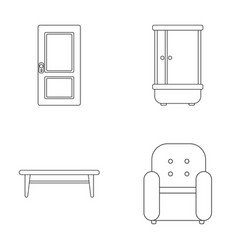 Door shower coffee table armchairfurniture set vector