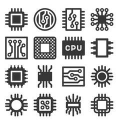 electronic computer chips cpu icons set vector image
