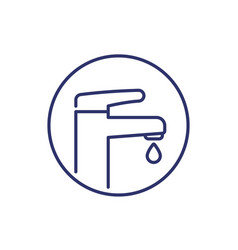 Faucet icon on white line art vector