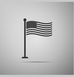 Flag of usa on flagpole icon american flag sign vector