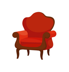flat of luxury armchair with soft red vector image
