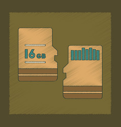 Flat shading style icon micro sd vector