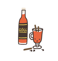 Glogg or nordic traditional alcoholic drink from vector