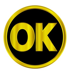 Gold ok button vector