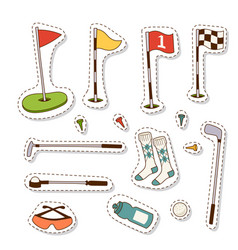 golf icons hobby equipment cart player golfing vector image