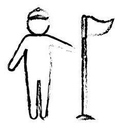 Golf player with flag avatar character vector