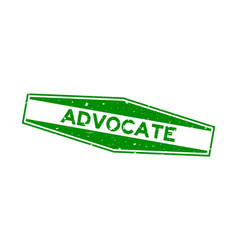 Grunge green advocate word hexagon rubber seal vector