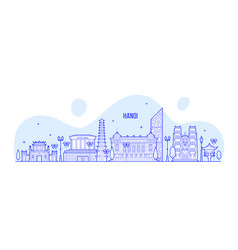 hanoi skyline vietnam city buildings linear vector image