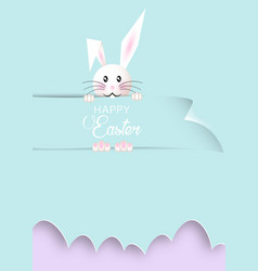 happy easter cartoon paper cut style white rabbit vector image