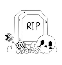 happy halloween tombstone skull creepy eye vector image
