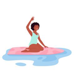 happy surfer woman in bikini surfing on summer vector image