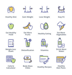 Healthy lifestyle - dieting icons - outline series vector