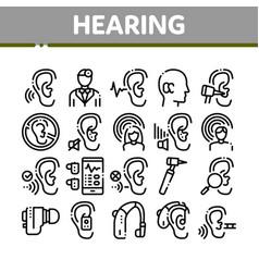 Hearing human sense collection icons set vector