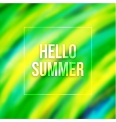 Hello summer blurred background with Brazil colors vector image