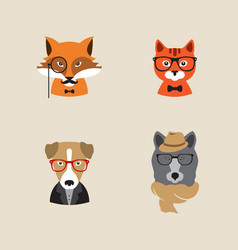 hipster animals set of icons vector image