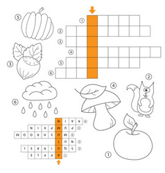 learn english with an autumn word game for kids vector image