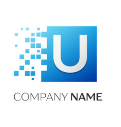 Letter u logo symbol in the colorful square with vector