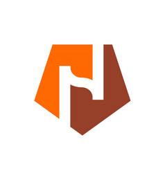 logo n alphabet n and orange pentagon shape logo vector image