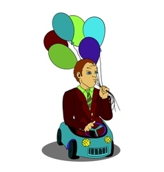 Man with balloons in the toy car cartoon vector image