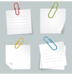 Metal Paperclip and White Paper Notes Set vector image