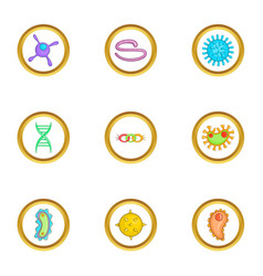 Microbe icons set cartoon style vector