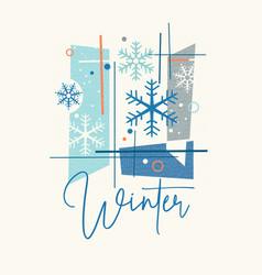 Mid century modern winter snowflakes design vector