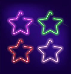 Neon star glow isolated on blue background vector