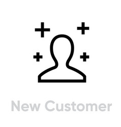 New customer icon editable line vector