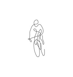 One line bicyclist hand drawn sketch vector