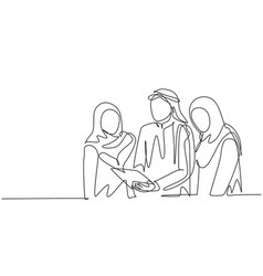 One single line drawing young muslim marketing vector