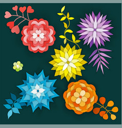 Paper art flowers isolated set - stock vector