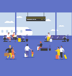 passengers or people at airport terminal vector image