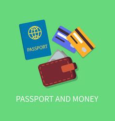 passport and money poster vector image