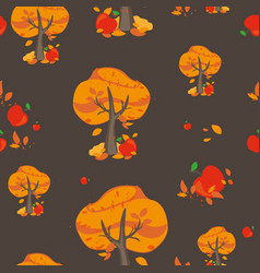 pattern with autumn trees and ripe red apple vector image