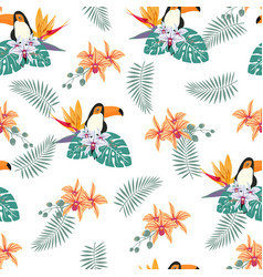 pattern with toukan and orchid vector image