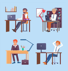 people working at computers in office set vector image