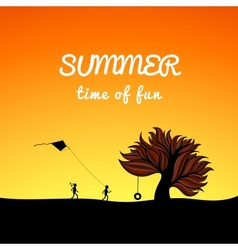 Poster summer landscape style fun theme vector