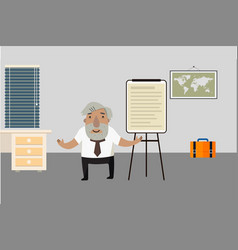 Professor-historian in the room flip chart vector