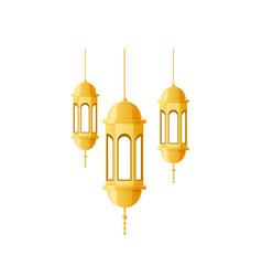 Ramadan kareem beautiful golden lights lamps vector