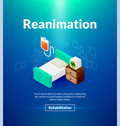 Reanimation poster of isometric color design vector