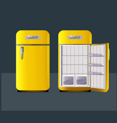 retro yellow fridge in realistic style isolated vector image