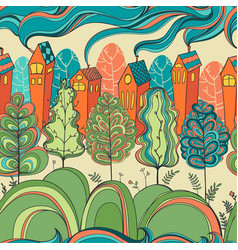 seamless pattern with trees and houses vector image