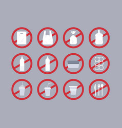 set different disposable objects made plastic vector image
