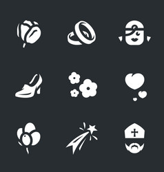 set marriage icons vector image