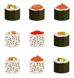 set of 9 slices sushi rolls vector image