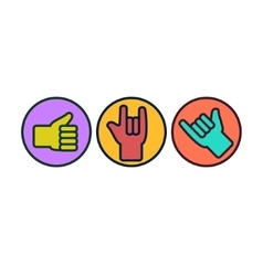 Set of hand gestures Thunb up rock on hang vector