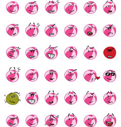 Set of pink beach ball character emojis vector